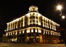Historic hotel Bristol in Warsaw (Poland) at night Royalty Free Stock Images