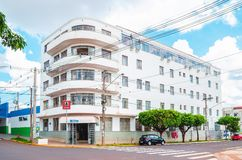 Historic Hotel of Campo Grande MS. Campo Grande, Brazil - October 29, 2018: One of the oldest hotels of the city, the Hotel Gaspar at corner between the Avenida royalty free stock photography