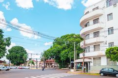 Historic Hotel of Campo Grande MS. Campo Grande, Brazil - October 29, 2018: One of the oldest hotels of the city, the Hotel Gaspar at corner between the Avenida stock image
