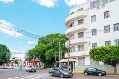 Historic Hotel of Campo Grande MS. Campo Grande, Brazil - October 29, 2018: One of the oldest hotels of the city, the Hotel Gaspar at corner between the Avenida stock images