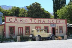 Famous Cardrona Hotel on the Cardrona Valley Road between Arrowtown and Wanaka. This historic Hotel was built in 1863 near the town of Wanaka. It is one of the Royalty Free Stock Photography