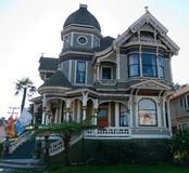 Historic house in Alameda CA. Newly redecorated victorian house Alameda California, tasetful combination of shades of cream green white. Lots of quality woodwork Royalty Free Stock Photography