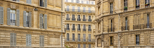 Historic house facades in Marseille in South Franc. Panorama of the typical historic house facades in Marseille in South France Stock Photo