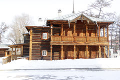 Historic house. The historical building was constructed according to the ancient custom of Siberian people of round timber tree, beautiful architecture. All Stock Image