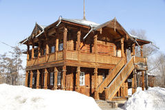 Historic house. The historical building was constructed according to the ancient custom of Siberian people of round timber tree, beautiful architecture. All Royalty Free Stock Photos