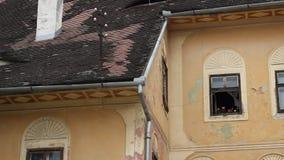 Historic House Open Window stock video
