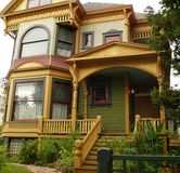 Historic House in San Jose CA. Newly redecorated victorian house San Jose California, tasetful combination of shades of brown green yellow Stock Images