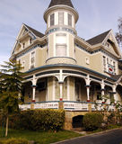 Historic house in San Jose CA. Newly redecorated victorian house San Jose California, tasetful combination of shades of cream green white. Lots of quality Stock Photo