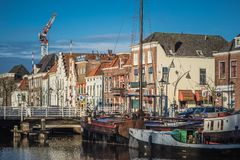 Historic housefronts along the Thorbeckegracht, Zwolle on a sunny winter morning stock image