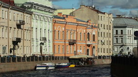 Historic houses along the Moika River. HD 1080p: Historic houses along the Moika River Embankment in central St. Petersburg, Russia stock video
