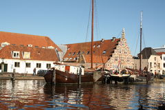 Historic houses and boats Royalty Free Stock Photo