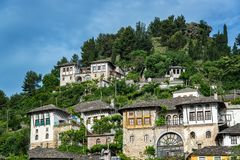 Historic Houses in Gjirokaster, Albania. Historic Ottoman houses on a hillside in Gjirokaster, Albania stock photo