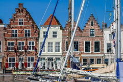 Historic houses, Goes harbour, Netherlands Stock Photo
