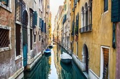Historic houses of the Grand Canal in Venice. Historic houses at Venice, chanel with boats Royalty Free Stock Image