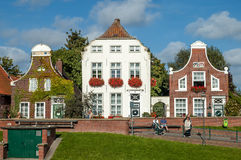 Historic houses in Greetsiel, Germany Stock Images