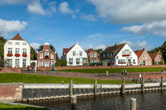 Historic houses in Greetsiel, Germany Royalty Free Stock Photos