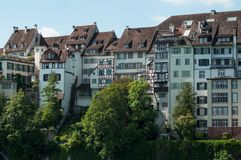 Historic Houses In Border Rhine River In Basel - Switzerland Stock Photography