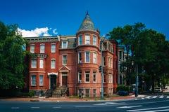 Historic houses at Logan Circle, in Washington, DC. royalty free stock photo