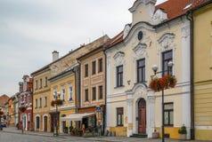 Main square in Kadan, Czech republic. Historic houses on main square in Kadan, Czech republic royalty free stock photos