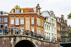 Historic Houses from the Middle Agen along the Canals in Amsterdam Royalty Free Stock Image