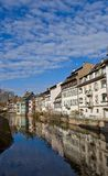 Historic houses on quay of Ill river. Strasbourg, France. Historic houses on quay of Ill river at Small France area in Strasbourg city (UNESCO site). Alsace Stock Images