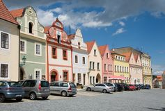 Square in the Horsovsky Tyn, Czech republic. Historic houses on the square of the Republic in the Horsovsky Tyn, Western Bohemia, Czech republic Stock Photos