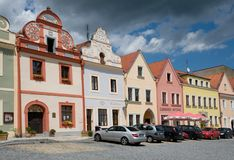Square in the Horsovsky Tyn, Czech republic. Historic houses on the square of the Republic in the Horsovsky Tyn, Western Bohemia, Czech republic Royalty Free Stock Photography