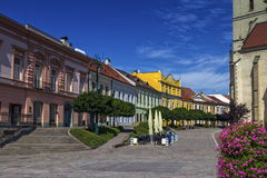 Historic houses and St. Nicolaus Church, Presov, Slovakia Royalty Free Stock Image