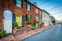 Historic houses and a street in Annapolis, Maryland. Royalty Free Stock Image