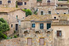 Historic houses at Tossa de Mar, Spain Stock Photo