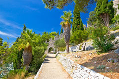 Historic Hvar fortification wall in nature Stock Images