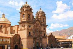 Historic Iglesia de la Compania in the Plaza de Armas of Cusco i Stock Image