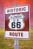 Historic Illinois Route 66 brown sign. Royalty Free Stock Images