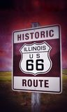Historic Illinois Route 66 vintage sign. Stock Image