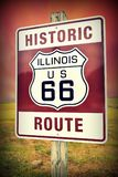Historic Illinois Route 66 vintage sign. Royalty Free Stock Photography