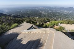 Echo Mtn Stairs Angeles National Forest California. Historic incline railway ruin stairs on top of Echo Mtn in the Angeles National Forest 3 miles above Altadena Stock Photos