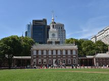 Historic Independence Hall in Philadelphia. PHILADELPHIA, PENNSYLVANIA, USA - JUNE 26, 2019: Tourists lined up in front of Independence Hall, where the Liberty royalty free stock images