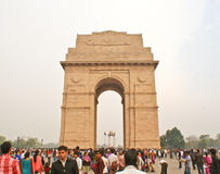 The historic India Gate in New Delhi. Indian Gate is a War memorial monument located in New Delhi and is a popular destination among tourists, both domestic and Stock Images