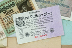 Historic Inflation. Different banknotes from the period of German hyperinflation in 1922-1923 stock photography