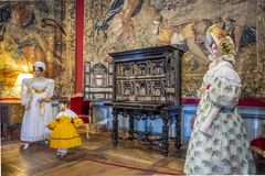 Historic Installation With Antique Furniture And Dolls Dressed In Vintage Costumes, France. Stock Images