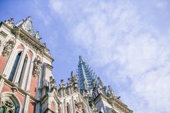 Interesting architecture of the church in Europe, in Ukraine. royalty free stock images