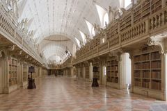 The historic interior of the library. Old castle. Stock Photo