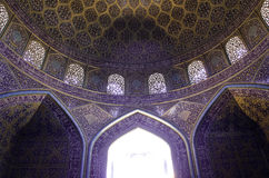 Islamic mosque architecture. Ceiling of an historic Iranian mosque Stock Photo