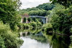 The Historic Iron Bridge along the River Severn, UK stock photos