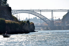 Historic iron bridge over river Douro Stock Images