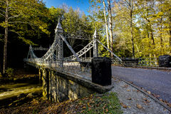 Historic Suspension Bridge - Mill Creek Park, Youngstown, Ohio royalty free stock images