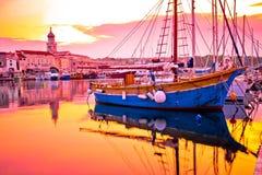 Historic island town of Krk golden dawn waterfront view. Kvarner bay archipelago of Croatia royalty free stock photo