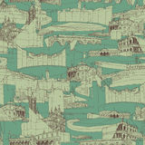 Historic Italian Architecture Collage seamless pattern Royalty Free Stock Photos