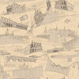Historic Italian Architecture Collage seamless pattern Stock Images