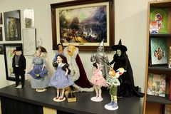 Tables, walls and shelves displaying historic memorabilia covering beloved Wizard of Oz, All Things Oz Museum, Chittenango, Ne. Historic items of interest in the stock photo